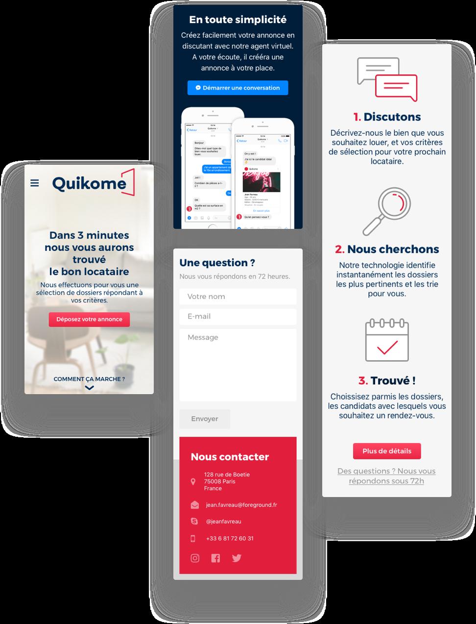 Site internet de Quikome sur smartphone - https://www.quikome.com/